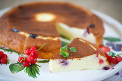 Curd pudding with berries Royalty Free Stock Images