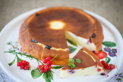 Curd pudding with berries Stock Image
