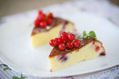 Curd pudding with berries Stock Images