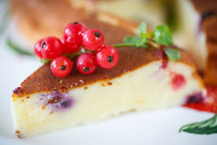 Curd pudding with berries Stock Photo