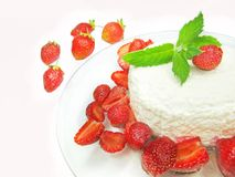 Curd pudding dessert with strawberry Stock Photos