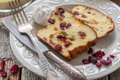 Curd pudding with semolina, eggs and cranberries. Stock Photos