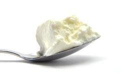 Curd on spoon Stock Photography