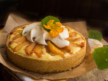 Curd tart with peaches Stock Photos