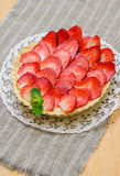 Curd tart with strawberries Royalty Free Stock Photo