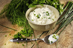 Free Curd With Chives Royalty Free Stock Image - 9832476