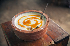 Curd yoghurt. Curd, buffalo yoghurt with honey; - typical Sri Lankan (Ceylon) product stock images