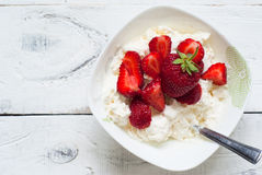Curd with yogurt and strawberries Stock Image