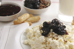 Curds for breakfast. Curds with prunes and walnuts for breakfast Royalty Free Stock Images