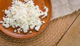 Curds on the brown plate Stock Image