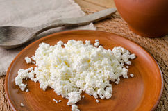 Curds on the brown plate Royalty Free Stock Photography
