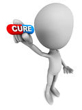 Cure. Medical cure, 3d man holding a capsule pill with word cure on it, concept of medicine and healthcare vector illustration