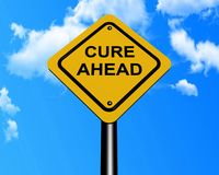 Cure ahead sign post. Text 'Cure ahead' in upper case text on yellow painted sign board with steel post and background of bright blue sky and clouds vector illustration