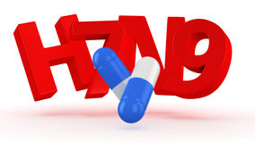 Cure for the bird flu. Two blue and white capsules break letters H7N9 Royalty Free Stock Photos