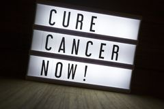 Cure cancer now!. `Cure cancer now` text in lightbox stock photo