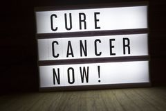 Cure cancer now!. `Cure cancer now` text in lightbox royalty free stock image