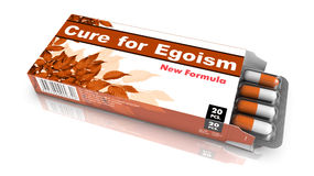 Cure for Egoism - Blister Pack Tablets. Cure for Egoism - Orange Open Blister Pack Tablets Isolated on White Stock Photos