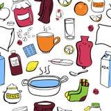 Cure of flu and colds. Cute simple  seamless pattern Get well soon. Raspberry jam jar, socks, scarf, hot tea, lemon, medicines, milk, honey pot, fruits and Royalty Free Stock Photo