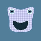 Cure kilted sewed on monster. Cute kilted sewed on monster on blue background Stock Photos
