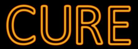 Cure neon sign. Abstract 3d rendered words cure orange neon sign on black background stock illustration