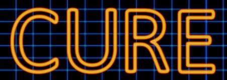 Cure neon sign. Abstract 3d rendered words cure orange neon sign on blue wire background vector illustration