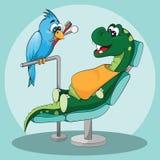 Cure odontoiatriche per i bambini Dinosauro felice con il dentista Immagine Stock Libera da Diritti