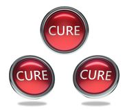 Cure glass button. Cure round shiny red 3 angle web icons with metal frame,3d rendered isolated on white background royalty free illustration