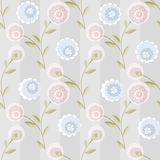 Cure seamless pattern with flowers on striped Stock Image