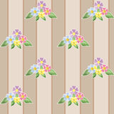 Cure seamless pattern with flowers on striped Royalty Free Stock Image