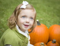 Cure Young Child Girl Enjoying the Pumpkin Patch. Stock Photo
