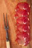 Cured肉jamon,特写镜头开胃小菜盛肉盘  免版税库存照片