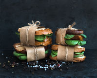 Cured chicken and spinach whole grain sandwiches placed one on a Royalty Free Stock Photo