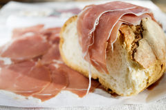Cured ham and bread Stock Images