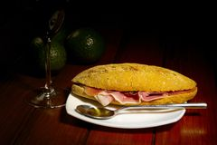 Cured Ham on Brown Bread Royalty Free Stock Images