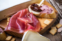 Cured ham and french bread with sundried tomato and meat liver p Royalty Free Stock Photo