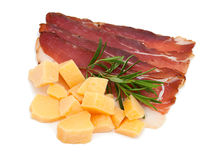 Cured ham isolated on white background Royalty Free Stock Images