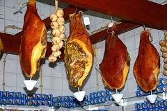 Cured ham legs, Olhao. royalty free stock photo