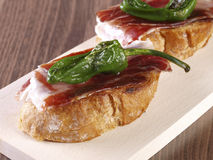 """Cured Ham and Pepper """"Montadito"""". Stock Photo"""