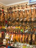 Cured ham in a shop Royalty Free Stock Photo