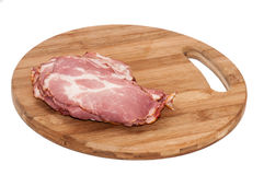 Cured ham on the wooden board Stock Photography