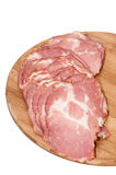 Cured ham on the wooden board Royalty Free Stock Photo