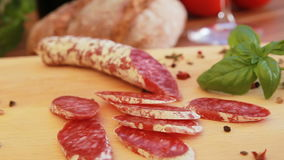 Cured homemade salami stock video footage