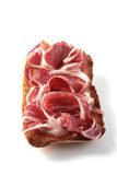 Cured iberian ham toast Royalty Free Stock Images
