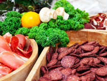 Cured meat. With lemon and mushroom Stock Photography