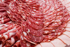 Cured meat on celebratory table stock image