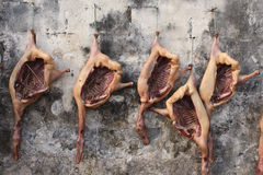 Cured meat in China. Cured goose meat hanging on the wall in Anhui province of China Royalty Free Stock Photo