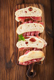 Cured Meat jamon sausage and ciabatta bread Stock Image