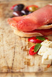 Cured Meat jamon sausage and ciabatta bread Royalty Free Stock Photo