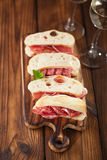 Cured Meat jamon sausage and ciabatta bread Stock Images