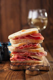 Cured Meat jamon sausage and ciabatta bread Royalty Free Stock Photography